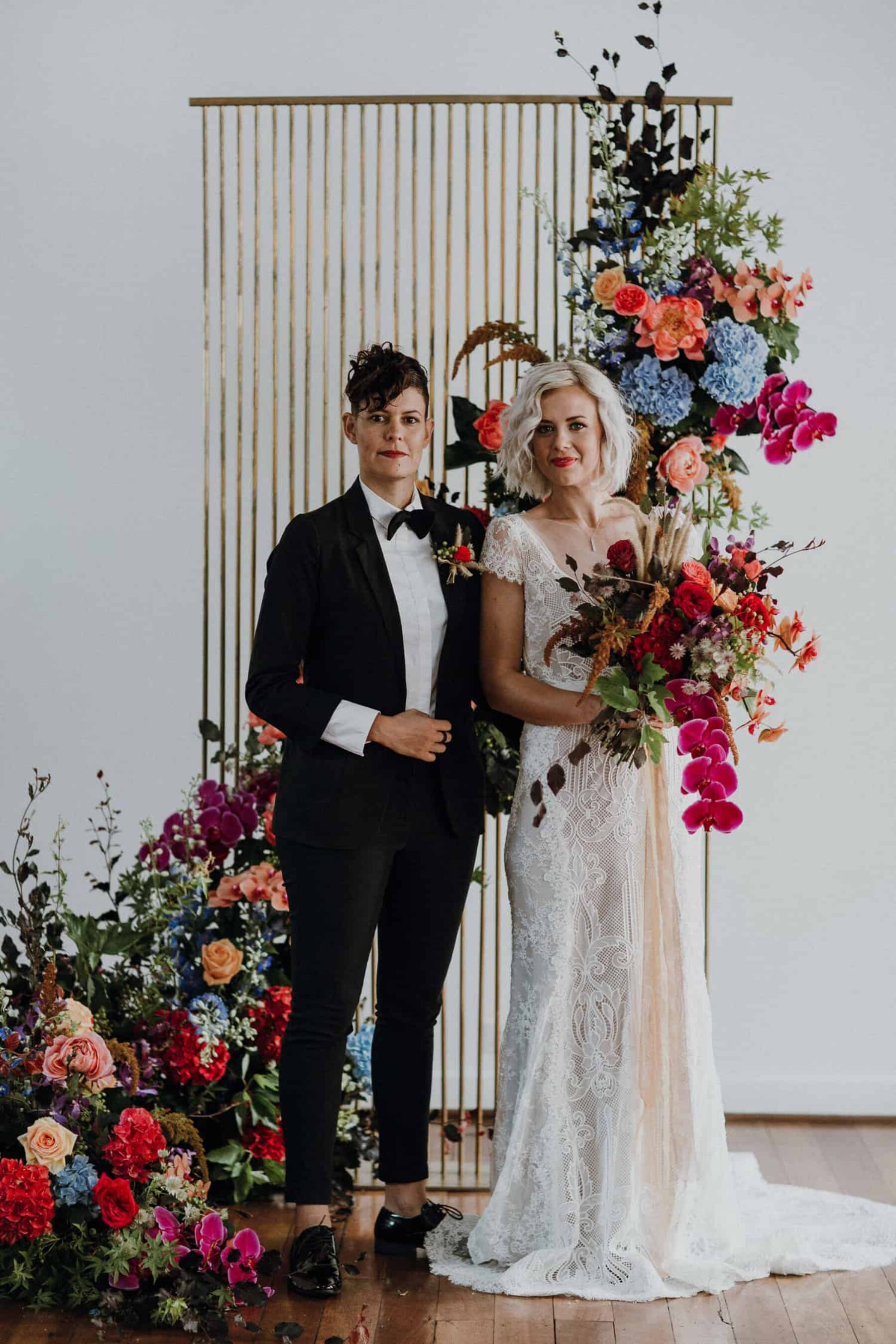 vibrant same sex wedding at The Flour Factory, Perth