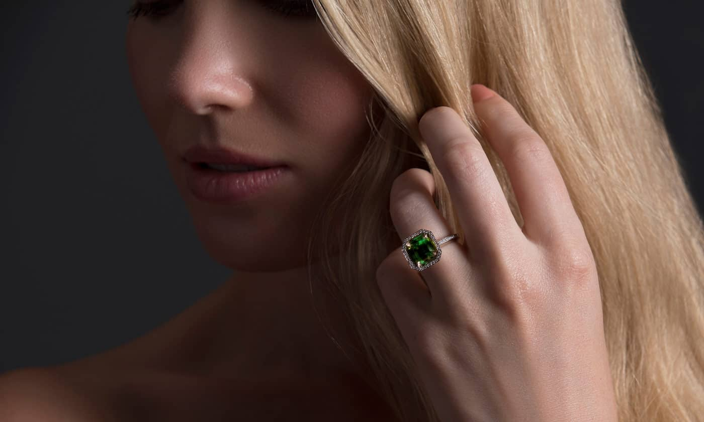 green tourmaline diamond engagement ring