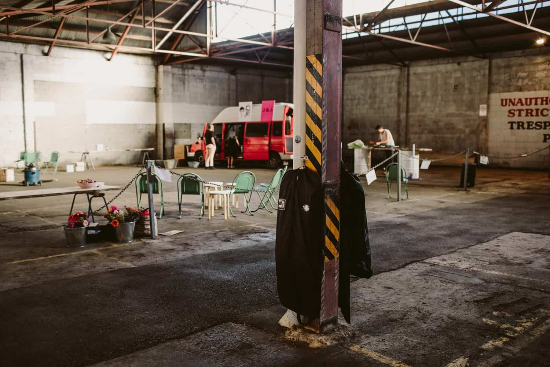 pop-up warehouse wedding in a car park in Adelaide