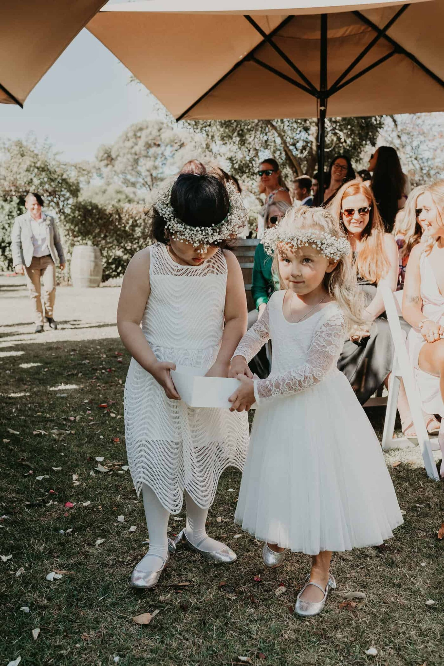 flower girls with baby's breath flower crowns
