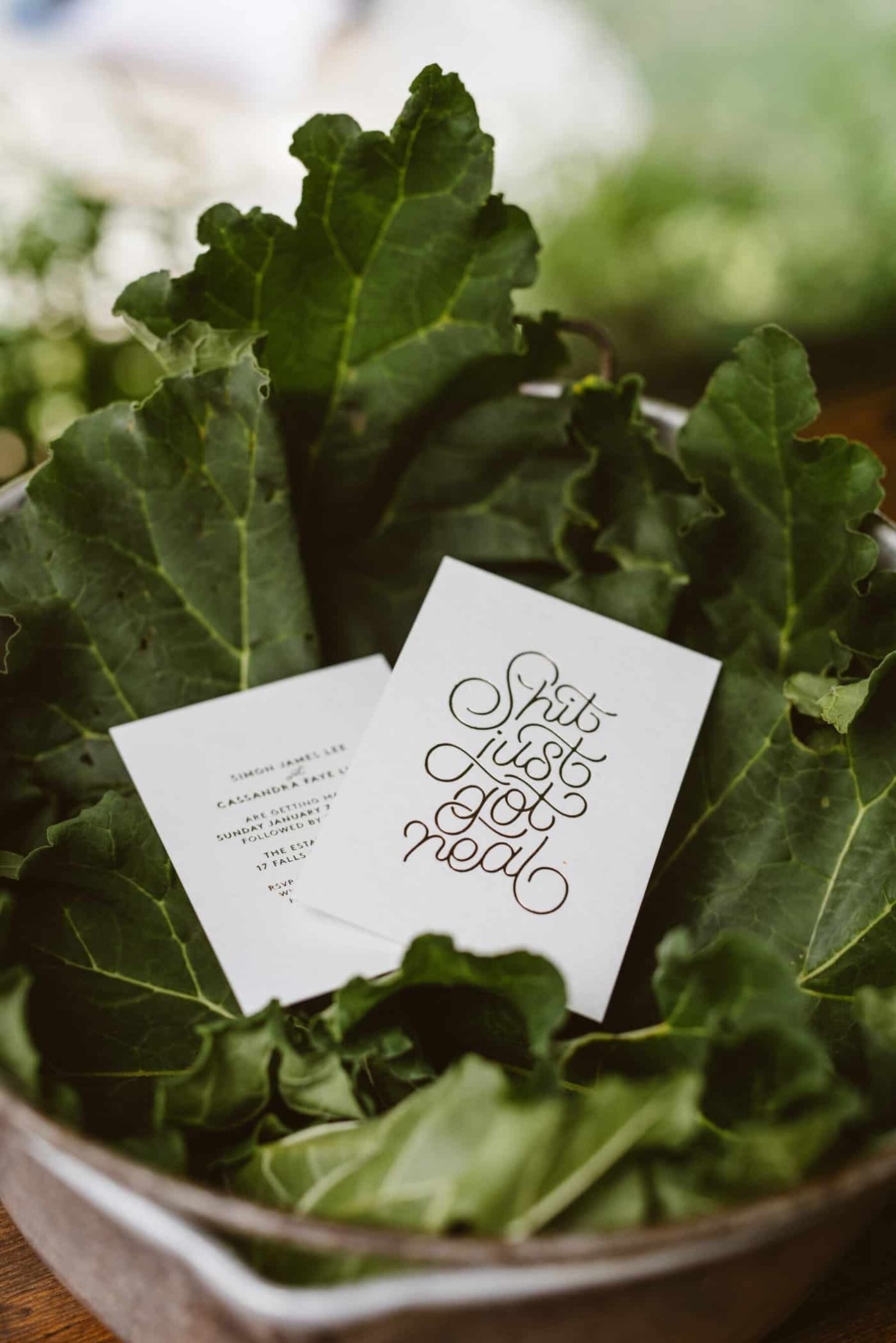 'shit just got real' wedding stationery