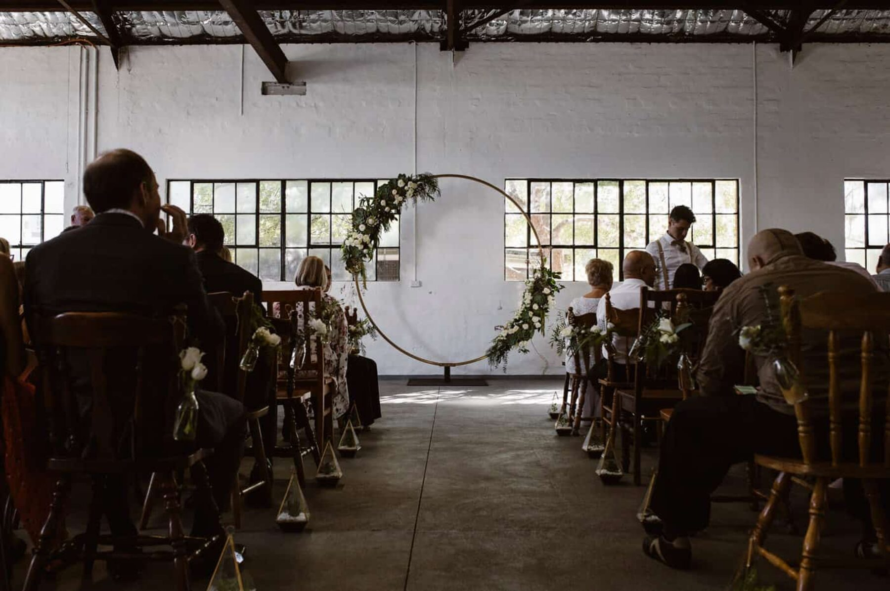 circular floral wedding arbour