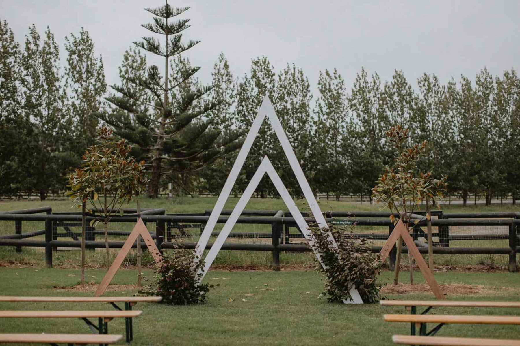 geometric triangular wedding backdrop