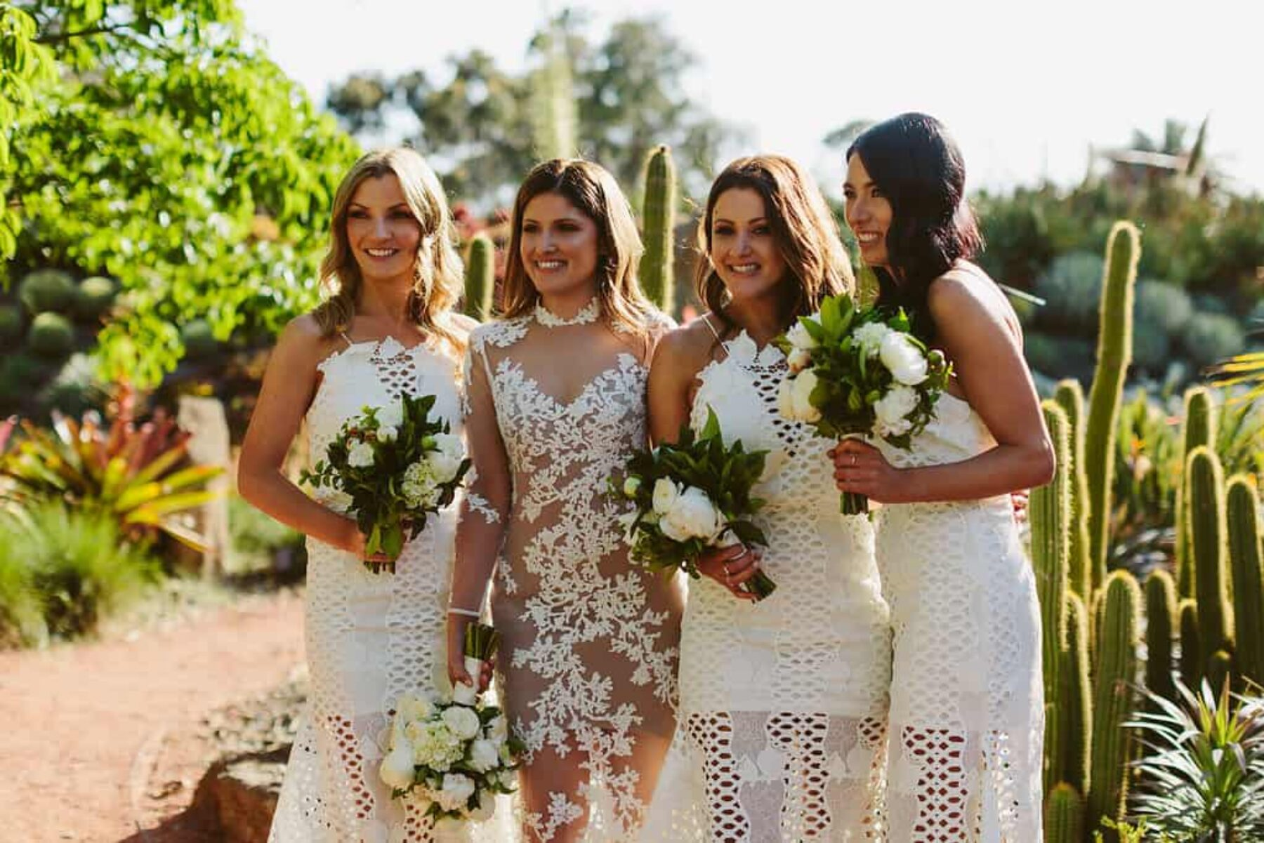 white Alice McCall bridesmaid dresses