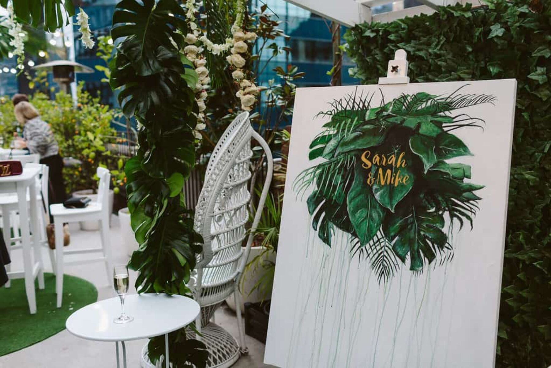tropical jungle print wedding signage