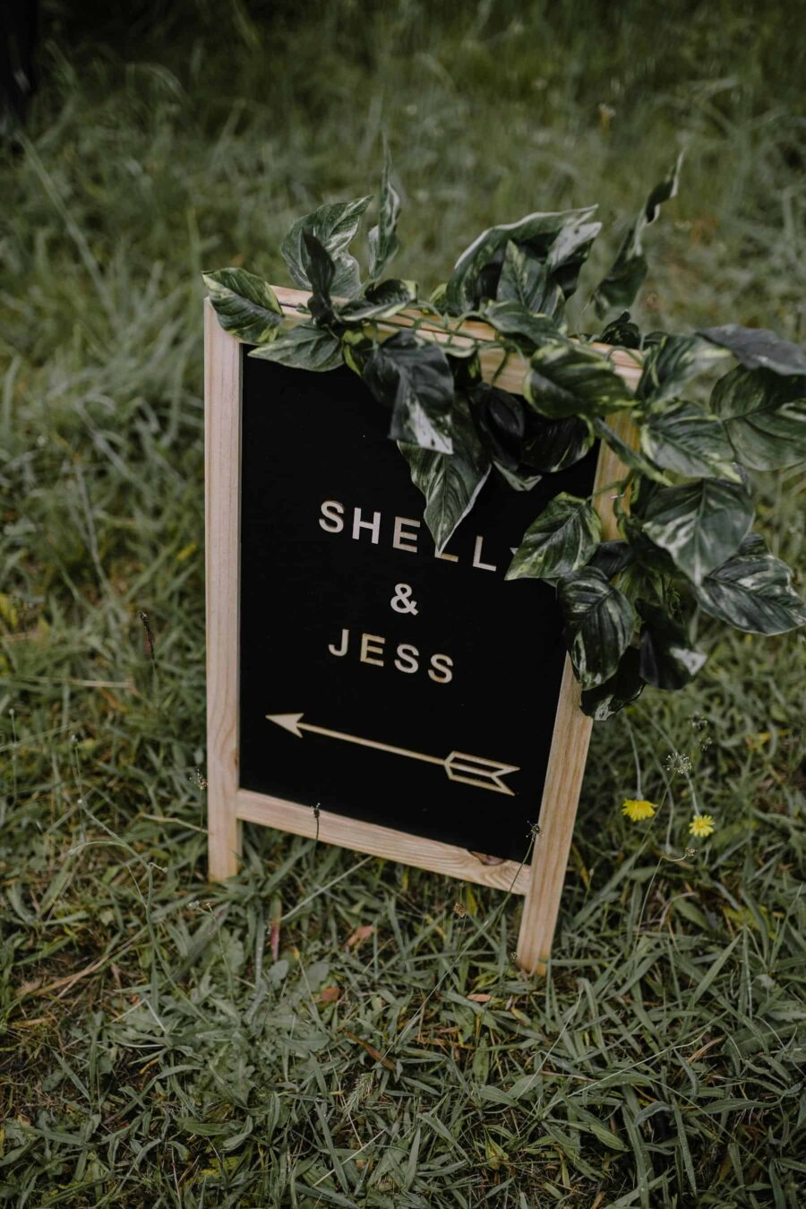 black board wedding sign