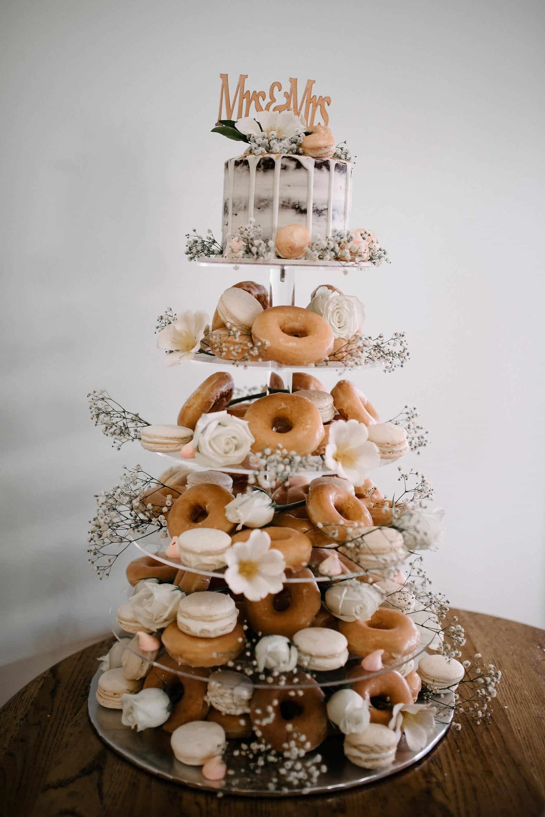 donut and macaron wedding cake