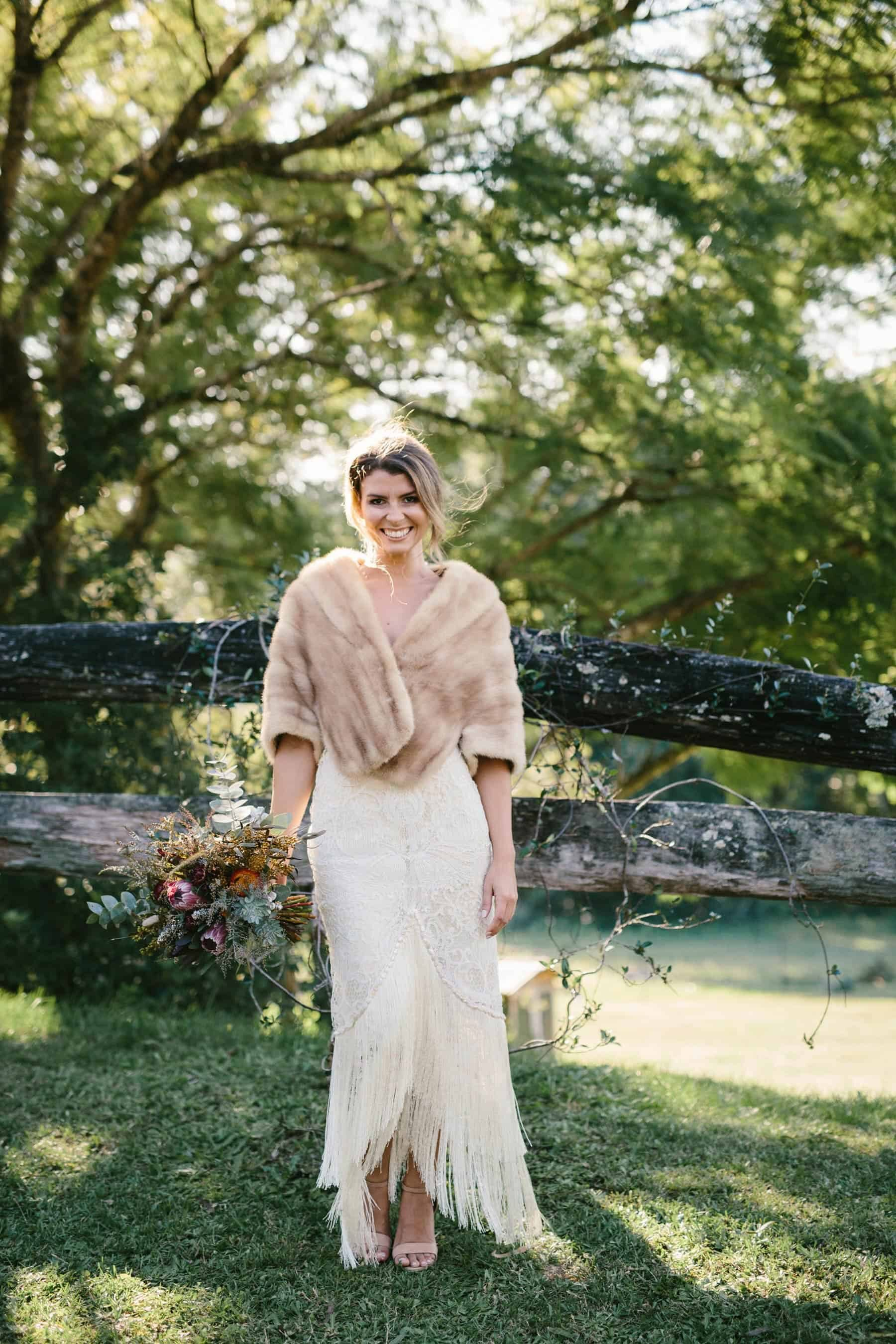 vintage bride in faux fur shrug
