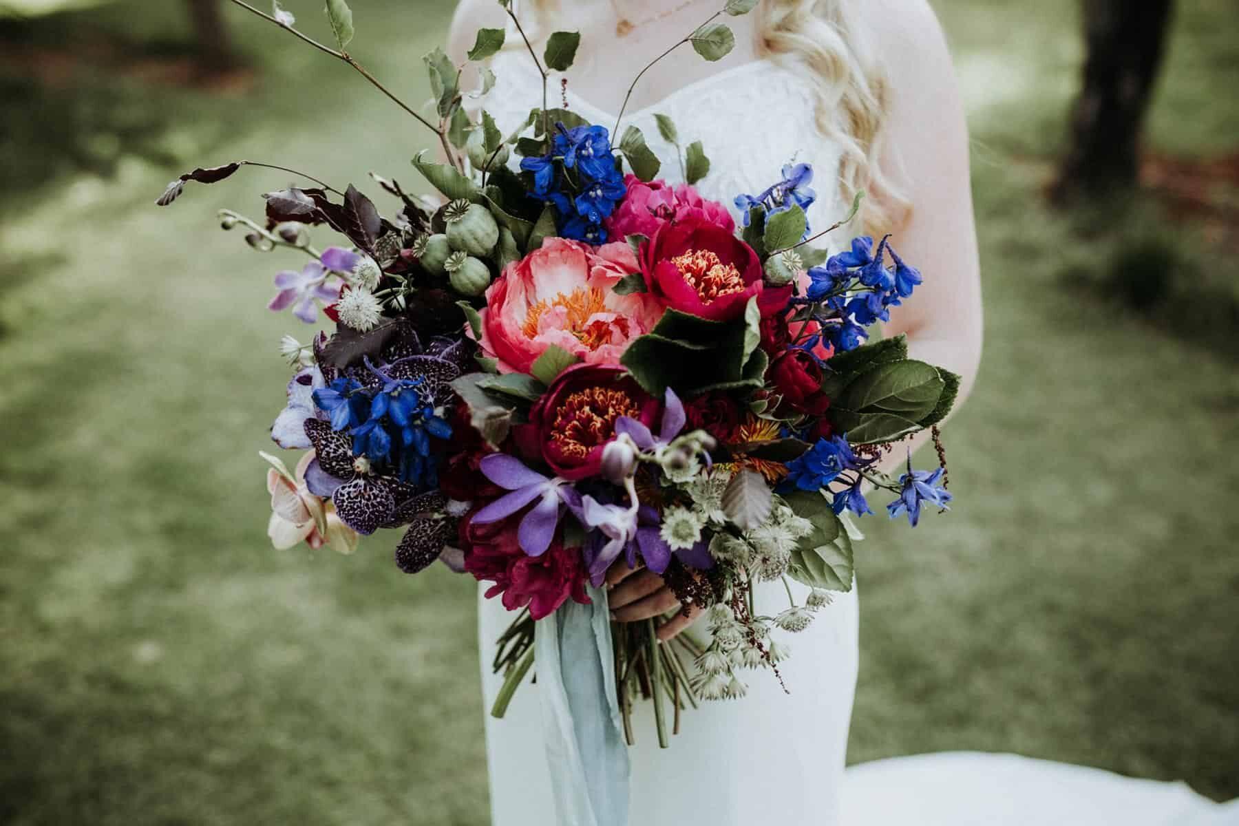 jewel-toned bridal bouquet