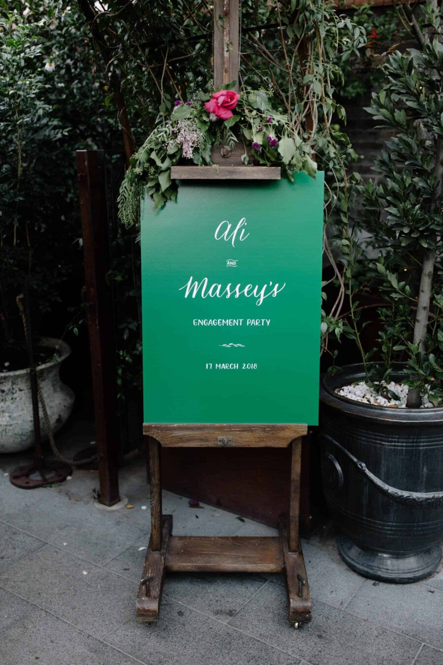green wedding signage