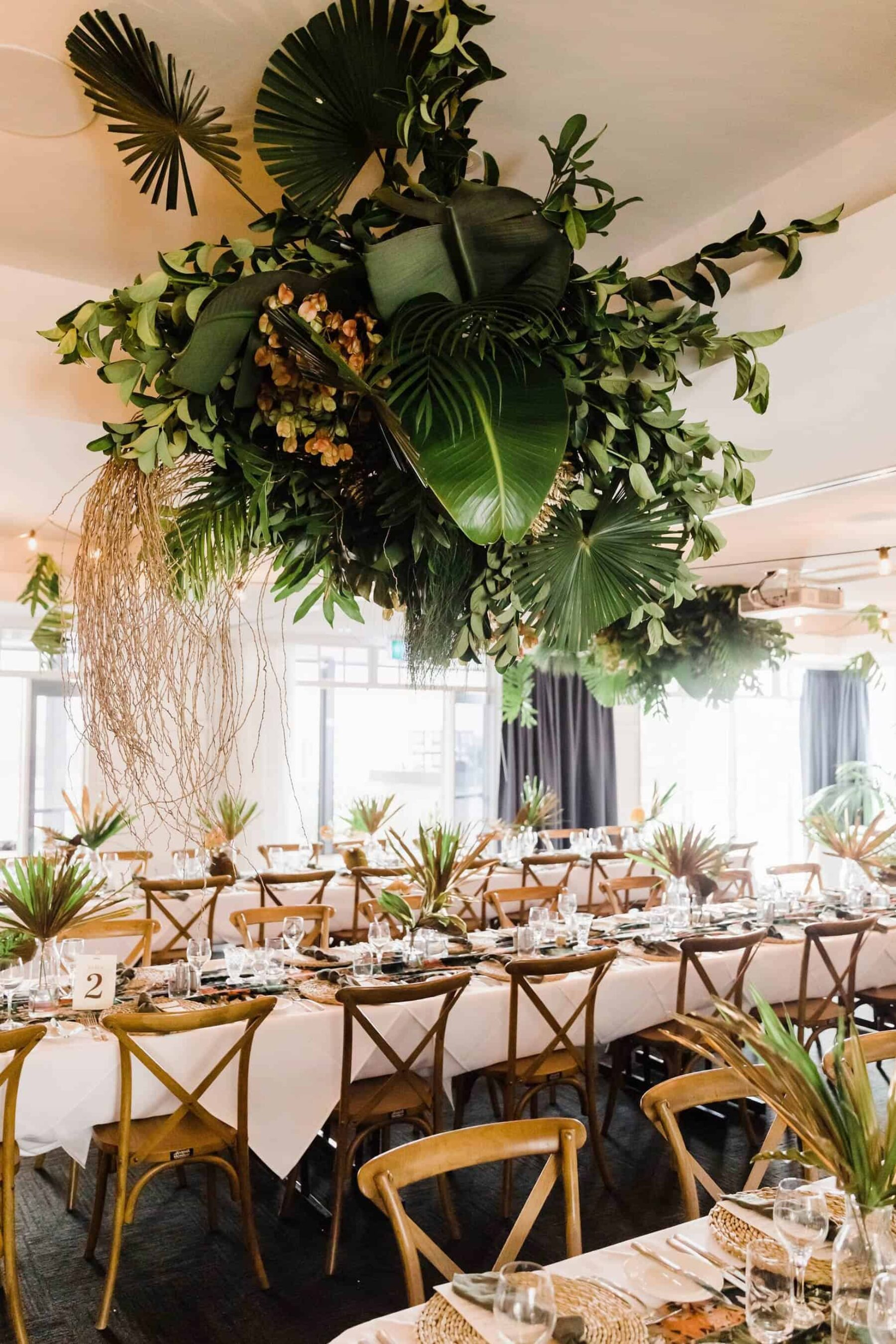 hanging tropical greenery installation