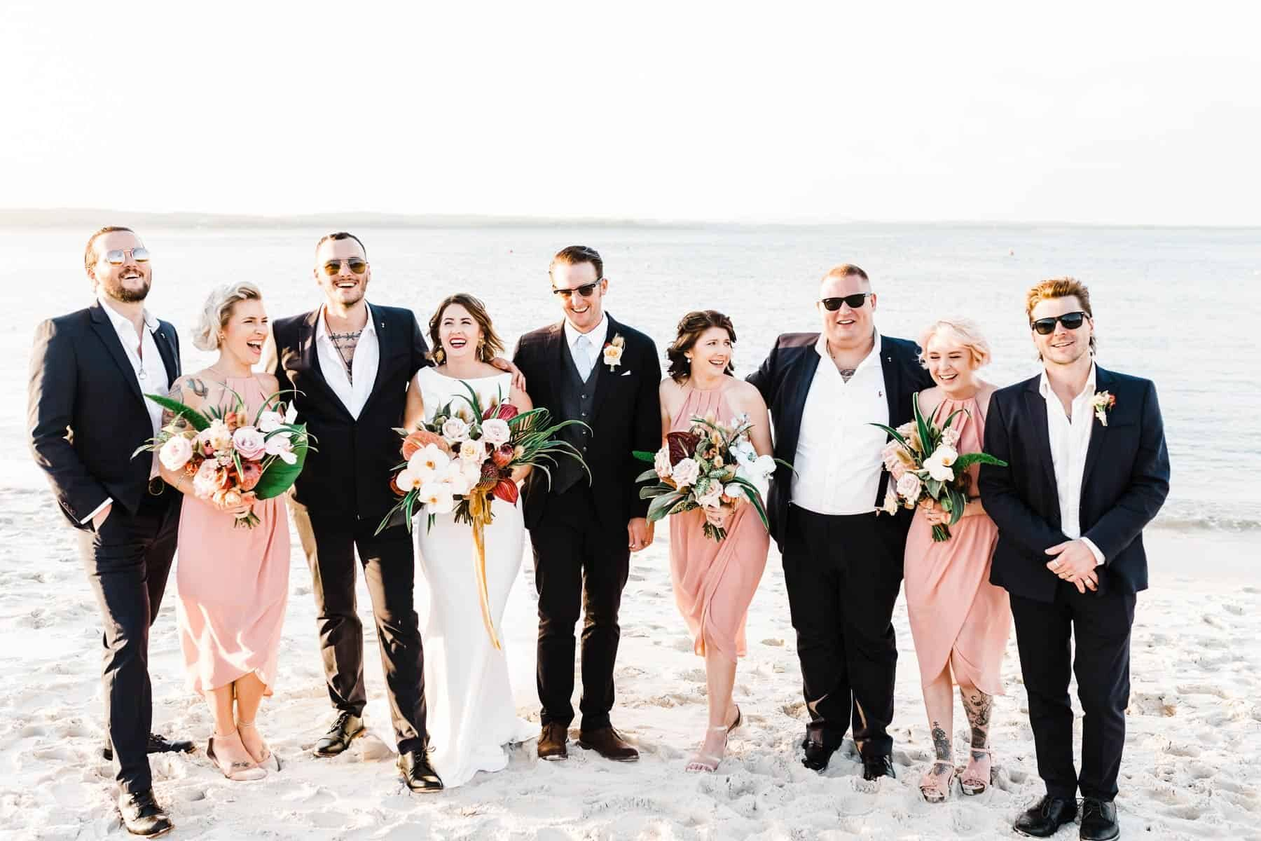 blush and black bridal party