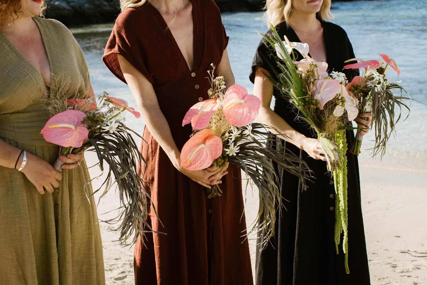 mismatched bridesmaids with blush laceleaf bouquets