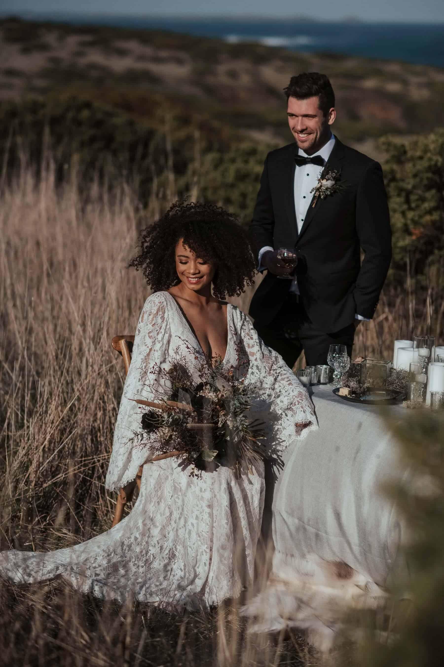 wild coastal wedding at Flinders Blowhole