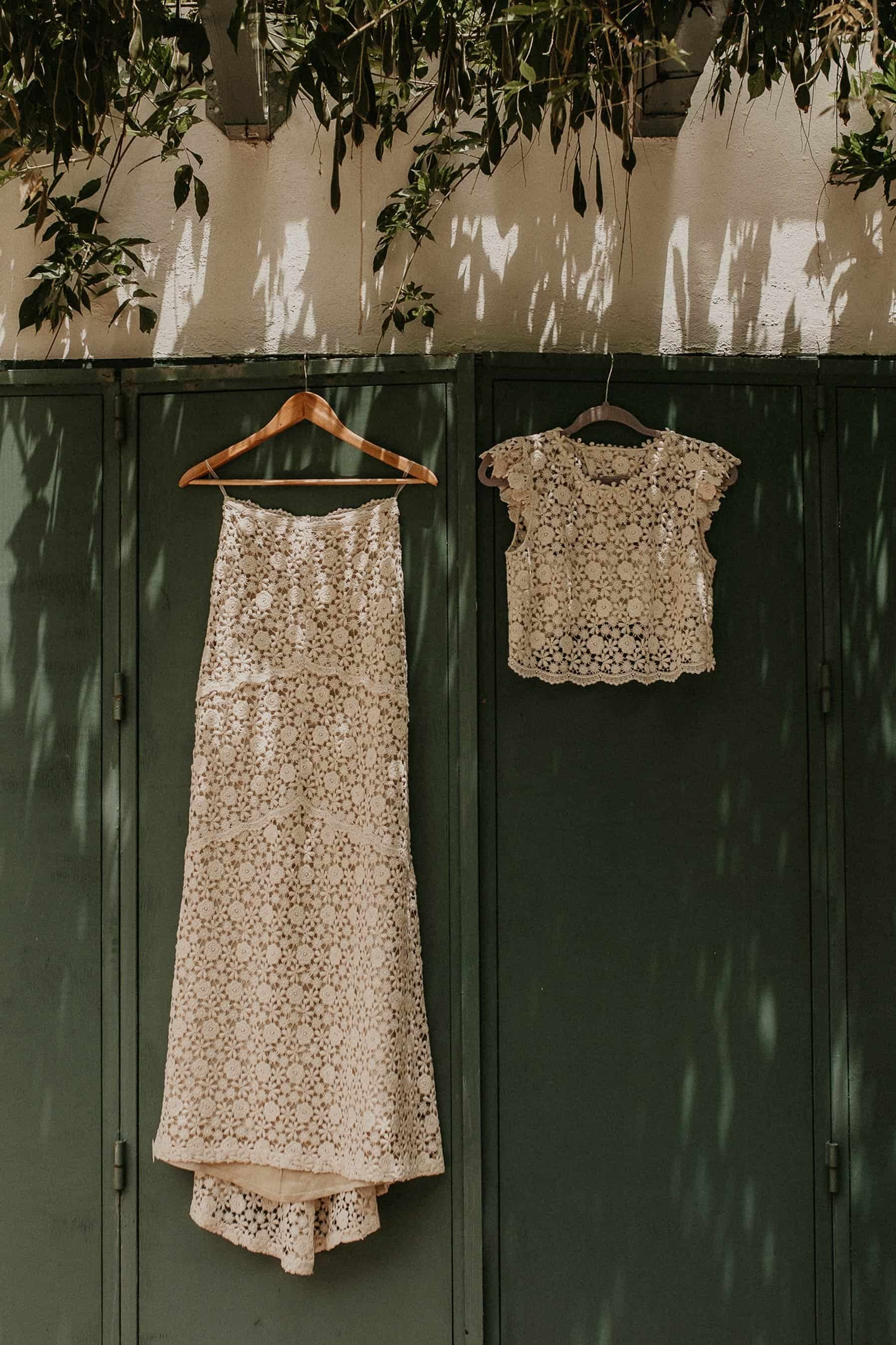 boho two piece crochet wedding dress by Immacle
