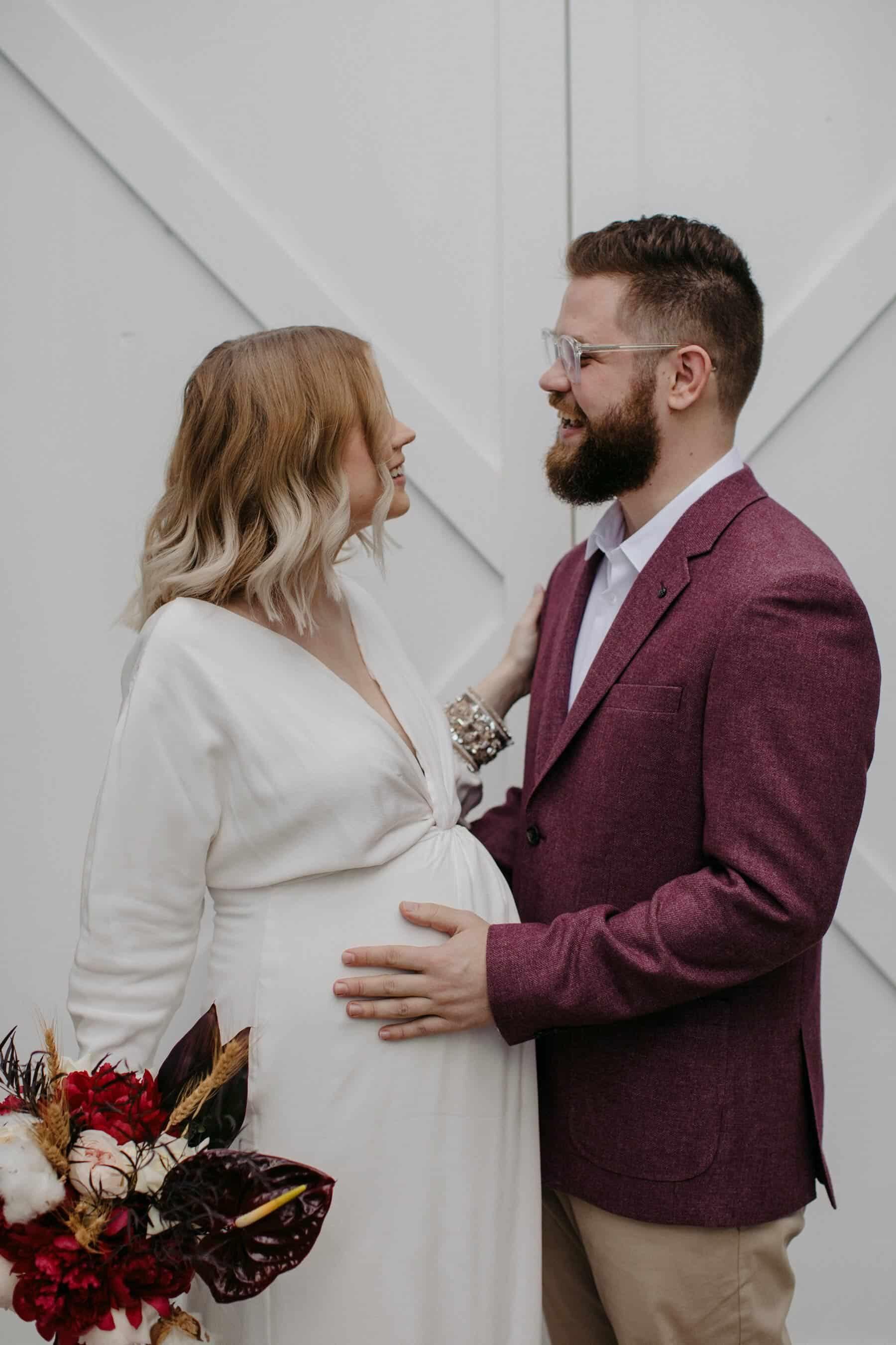 modern pregnant bride long sleeve wedding dress