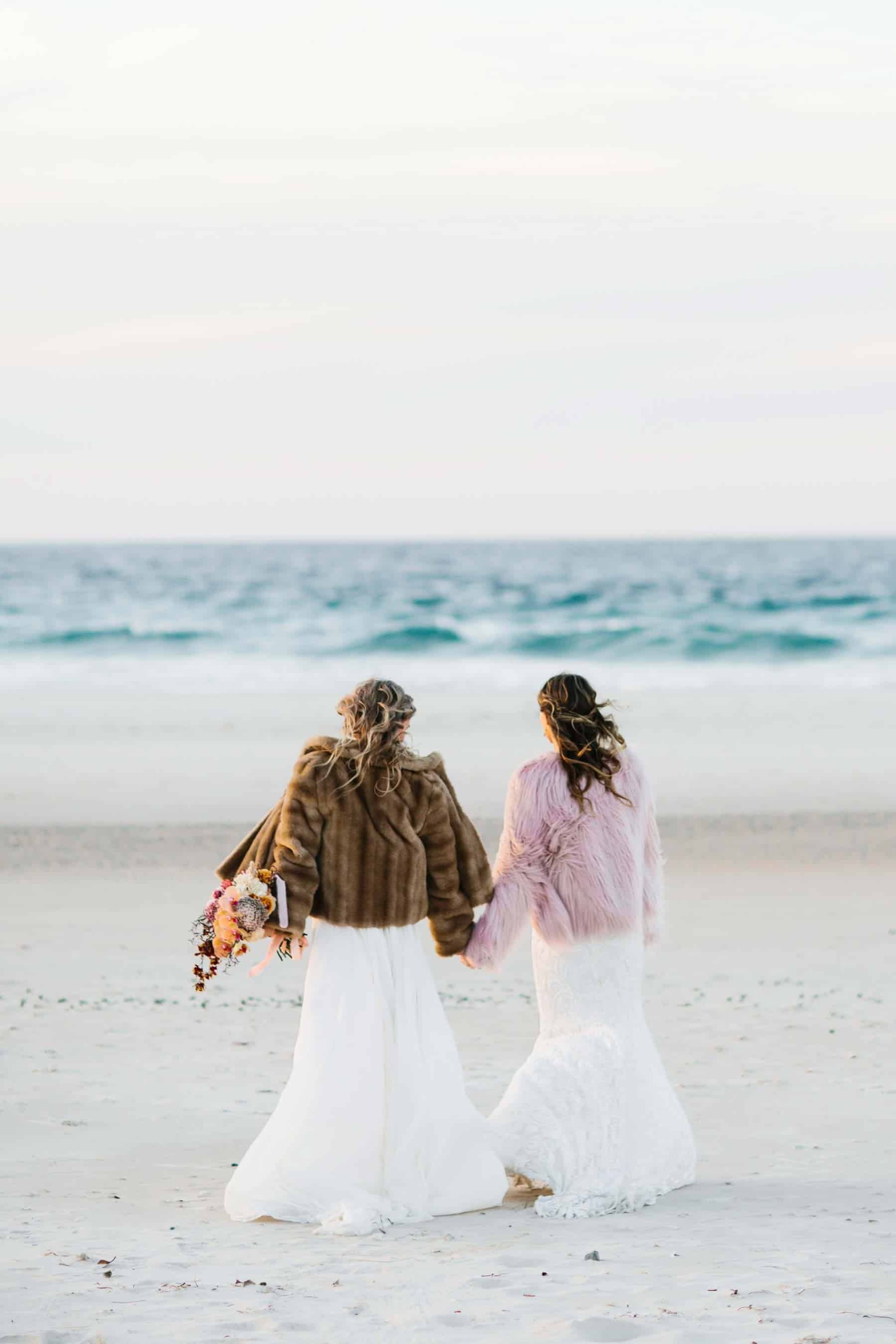same sex boho beach wedding NSW Australia