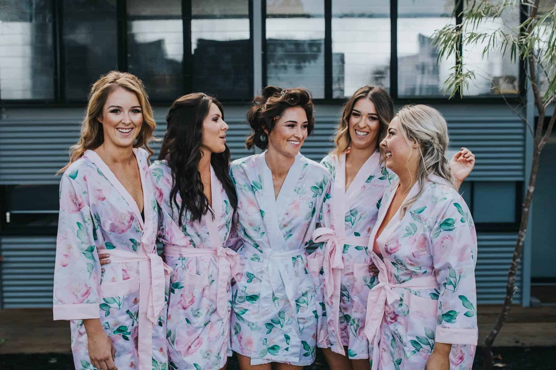 pink and blue pastel bridesmaid robes