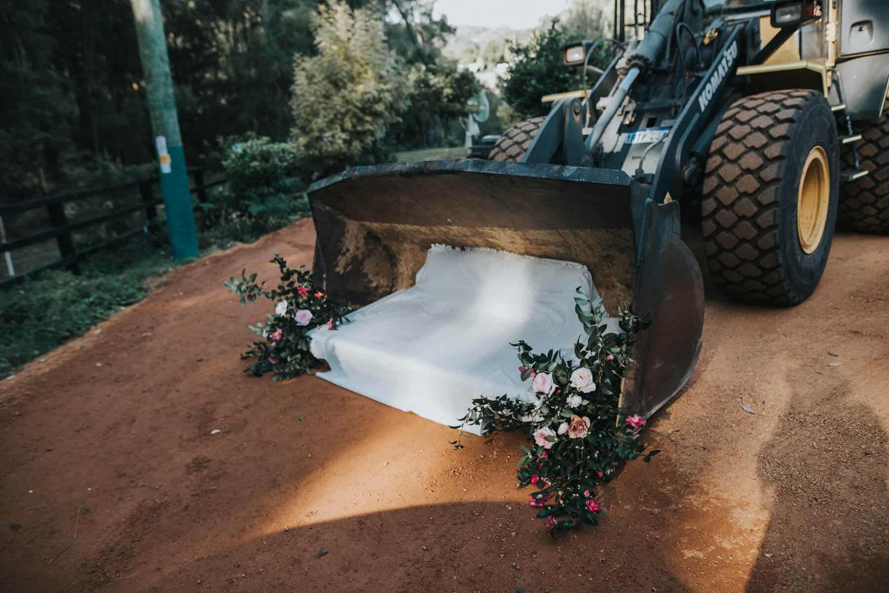 flower-laden tractor for a country wedding