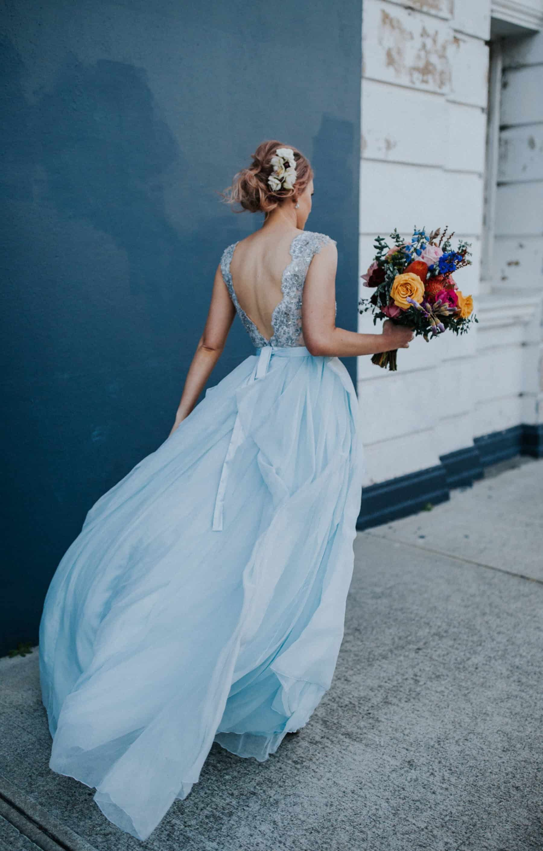 light blue wedding dress with V-back lace bodice