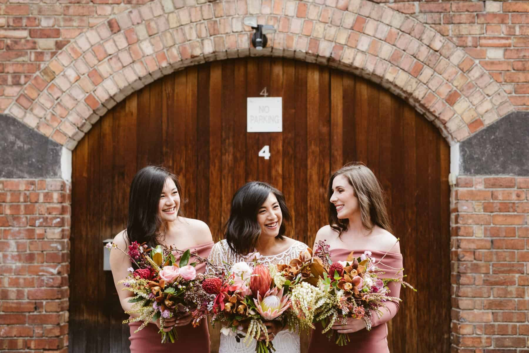 Best of 2018: bouquets. blush and dusty pink bouquets with king proteas and native flowers