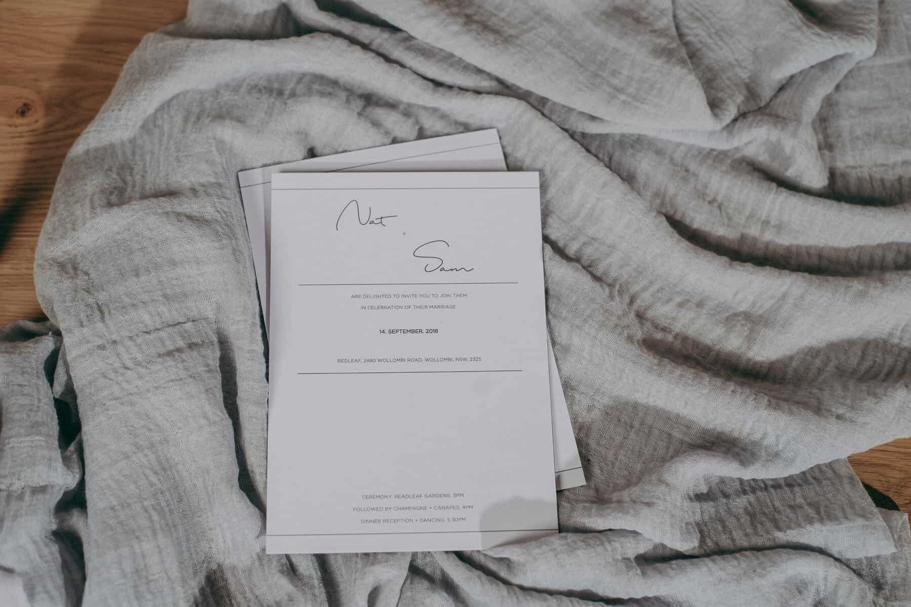 minimal typographic wedding invitation