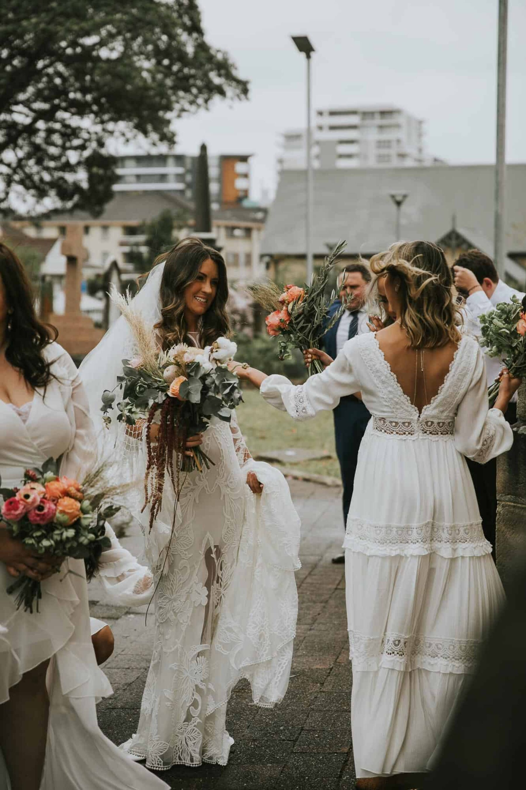 boho mismatched white bridesmaid dresses