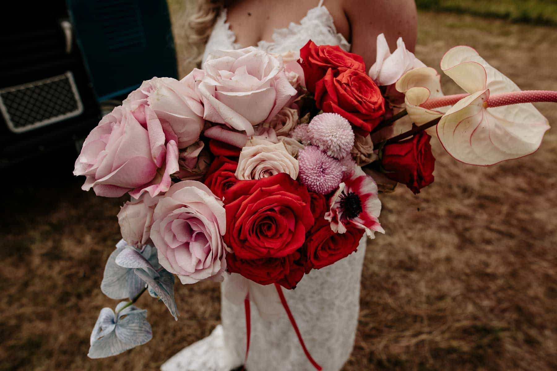 Colourful chic rose bridal bouquet