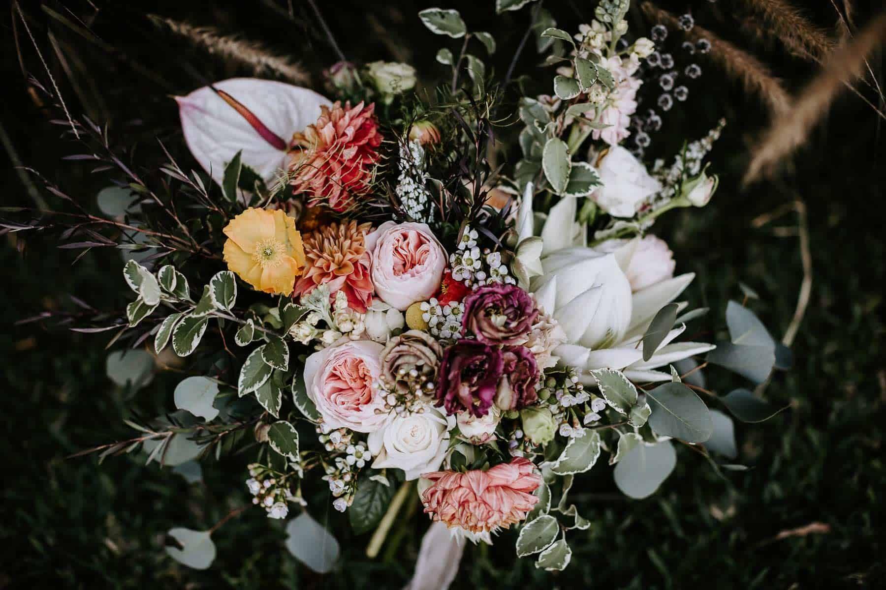 vibrant DIY bridal bouquet