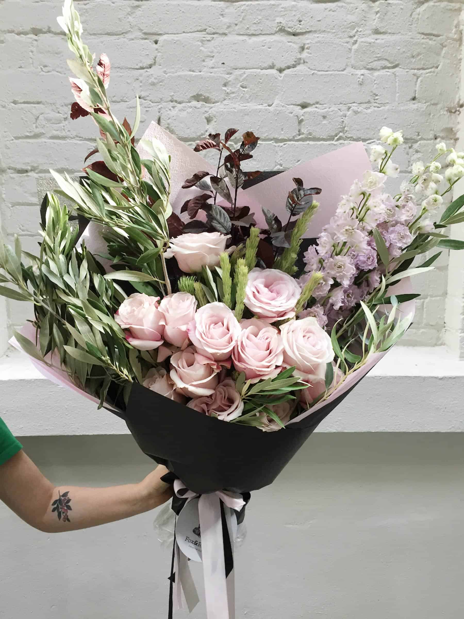 pastel rose bouquet for Valentine's Day by Perth Florist Fox & Rabbit