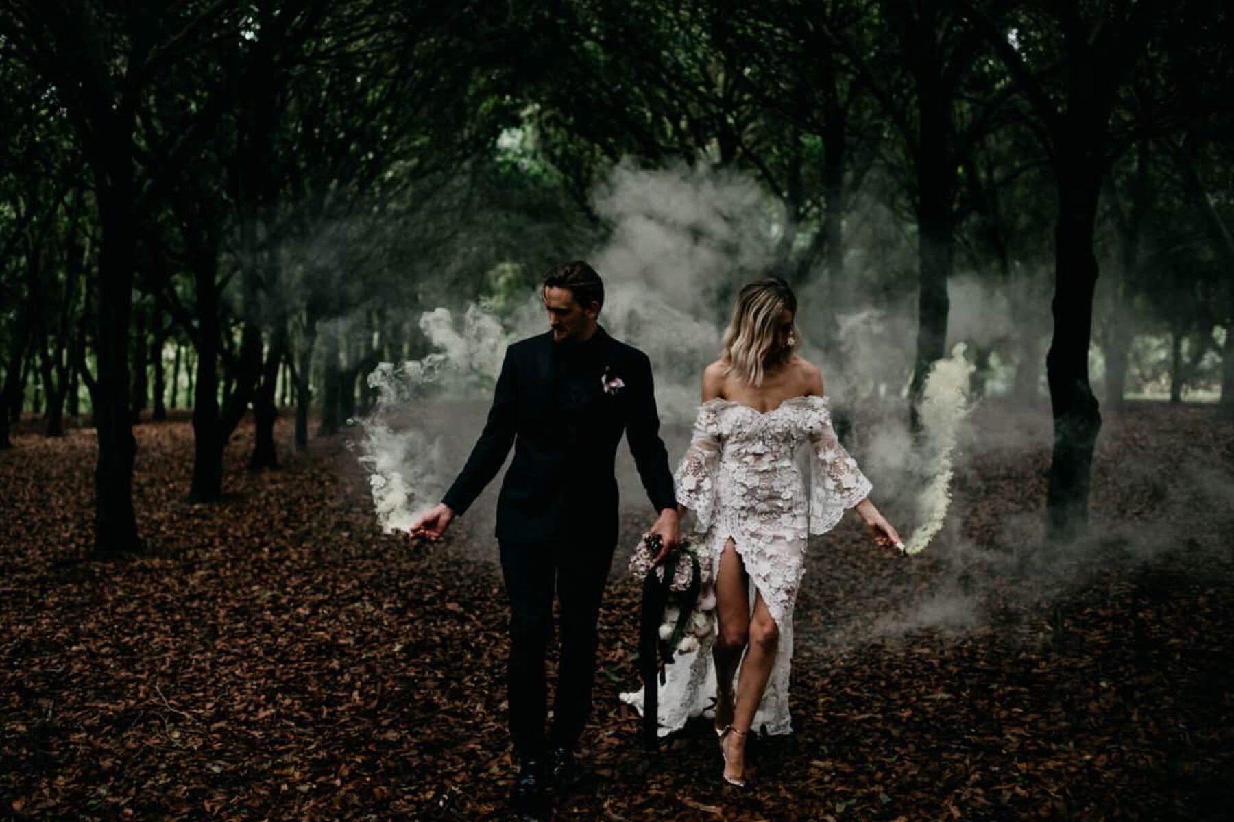 moody wedding photography with smoke bombs