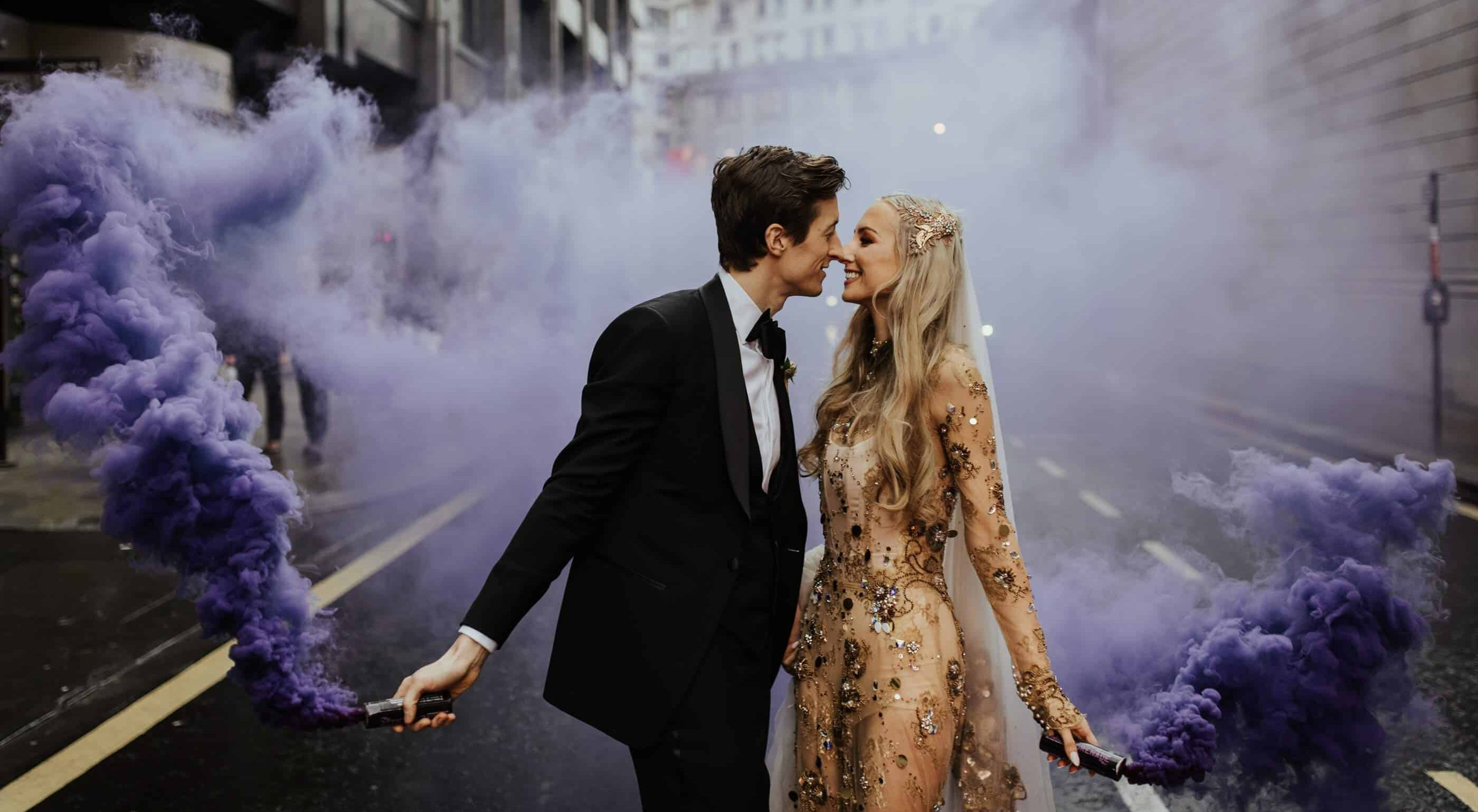 12 Weddings that Nailed Pinterest's trend of 2019    Smoke Bombs
