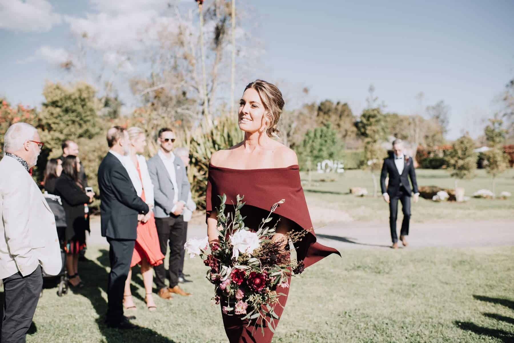 burgundy off-shoulder bridesmaid dress