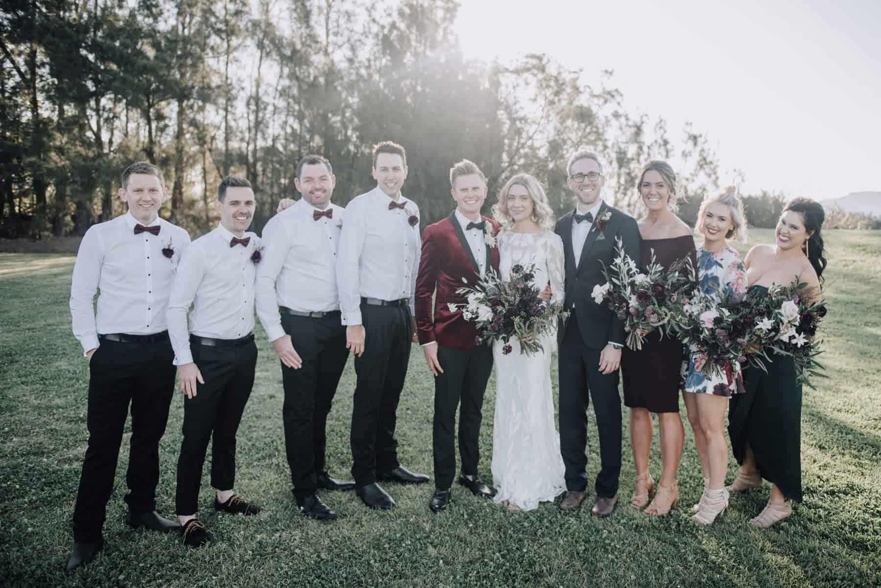 modern mismatched bridal party