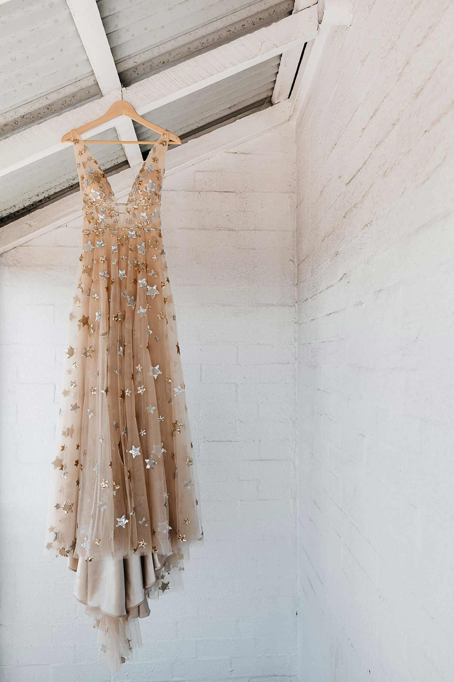 gold celestial wedding dress by Willowby by Watters