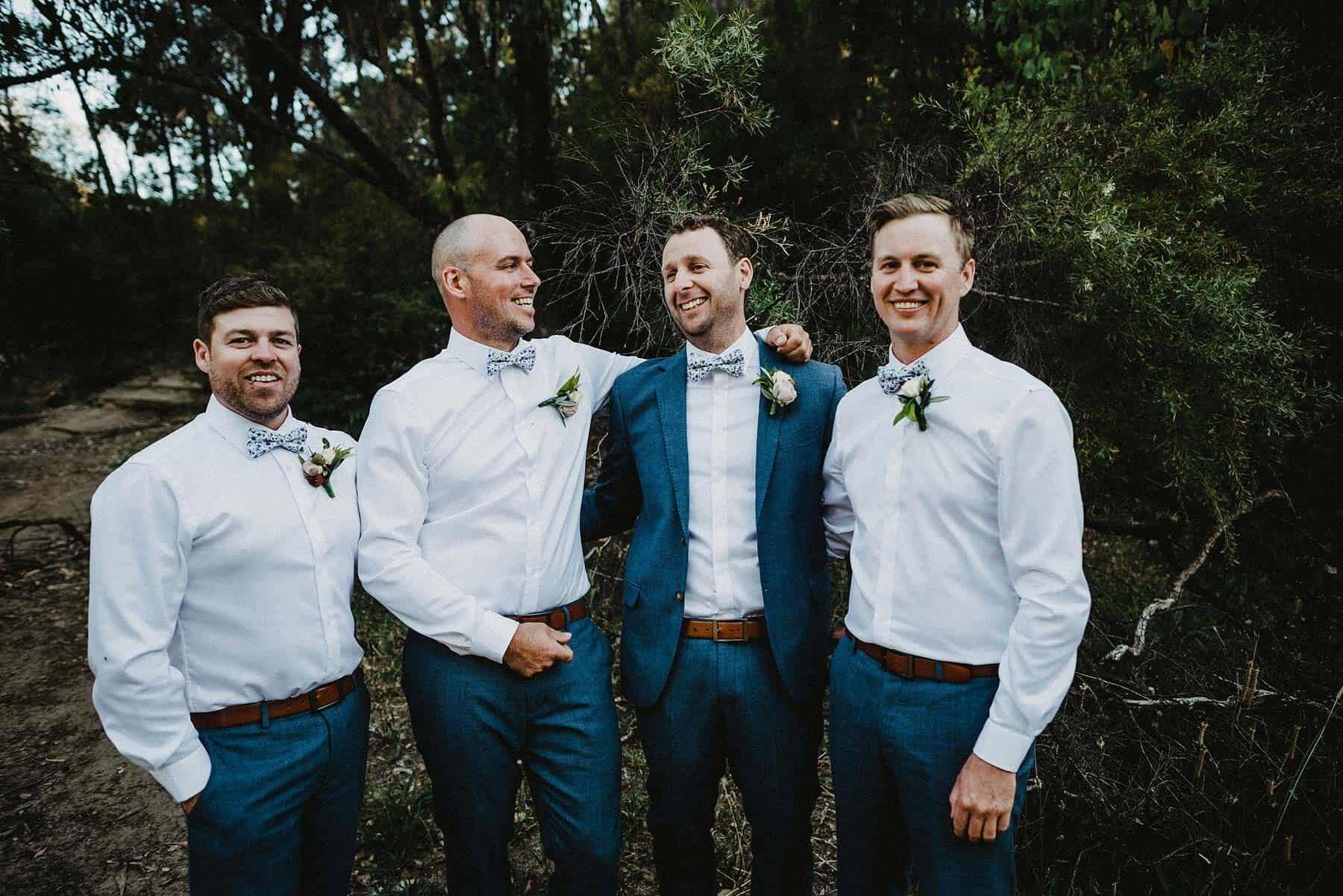 Groomsmen at boho forest wedding in WA
