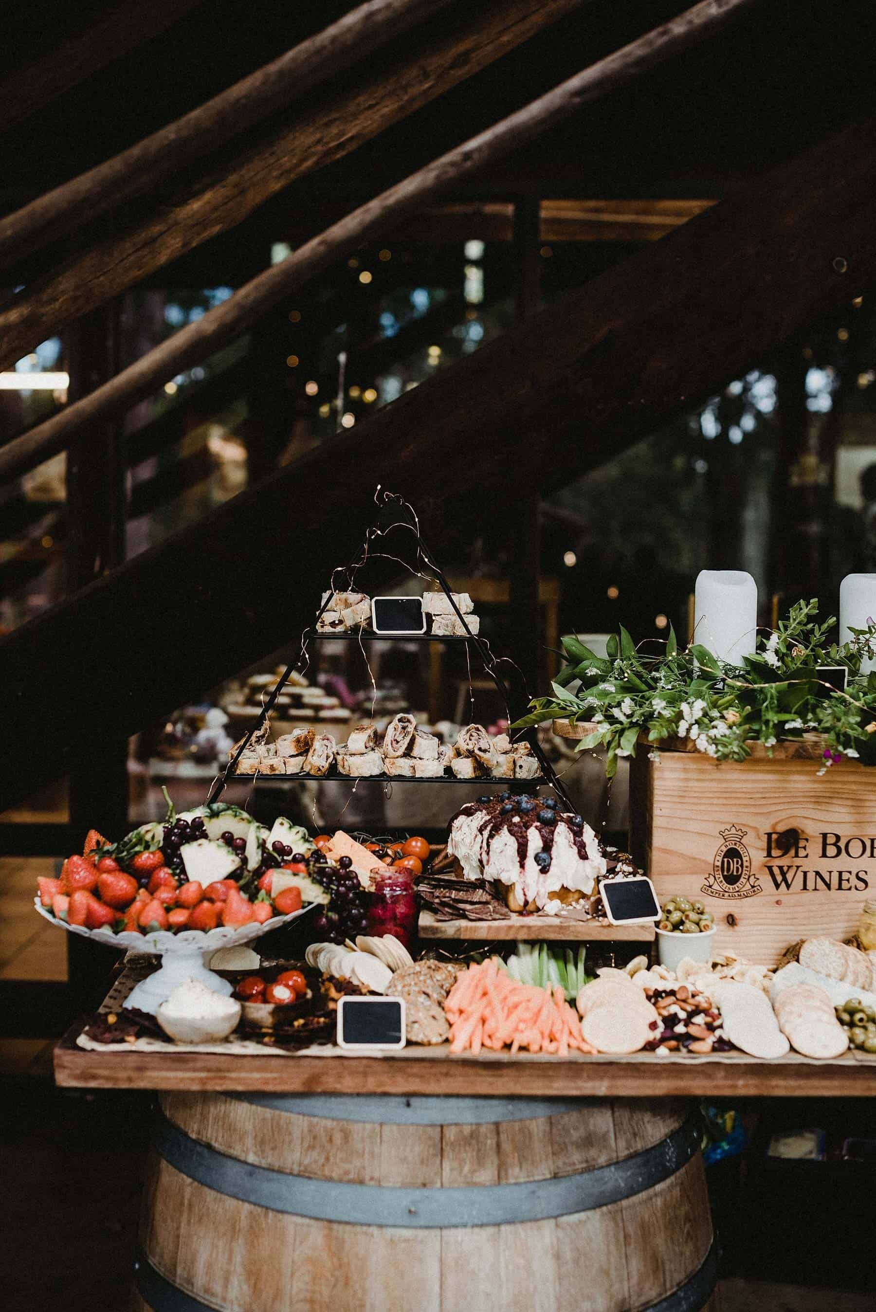 rustic grazing table and food truck wedding catering