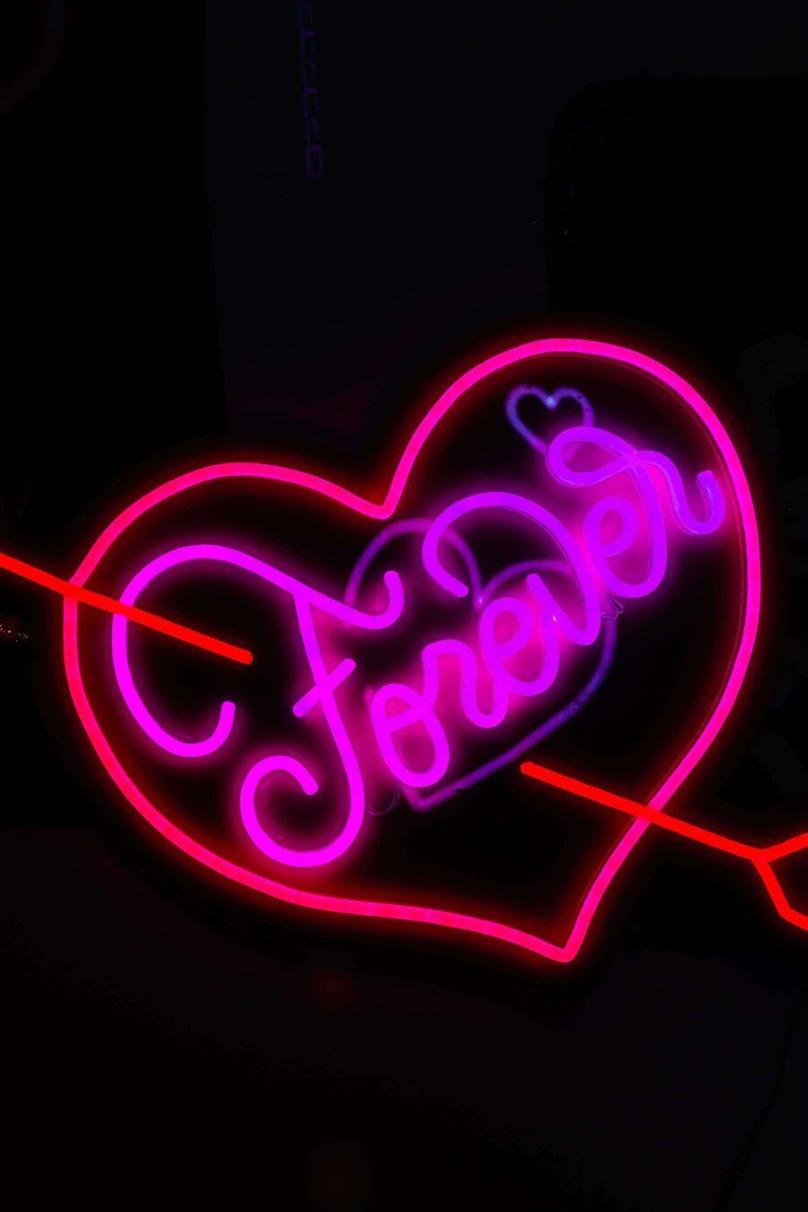 neon heart forever sign