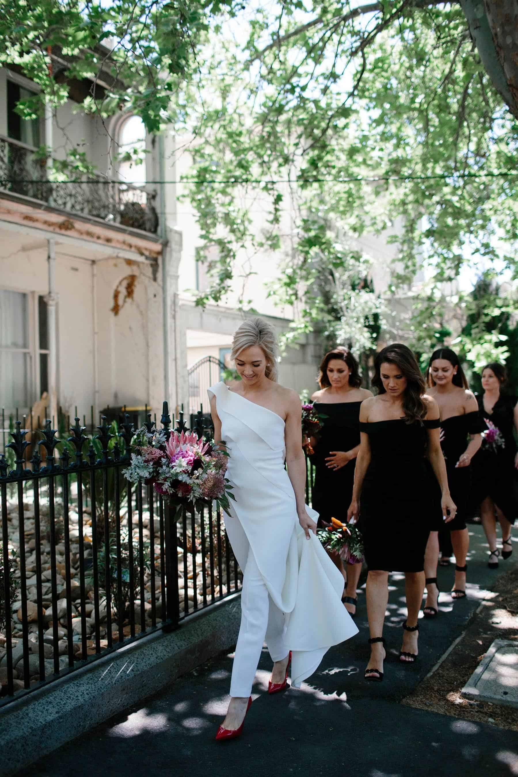 modern white bridal jumpsuit by Toni Maticevski