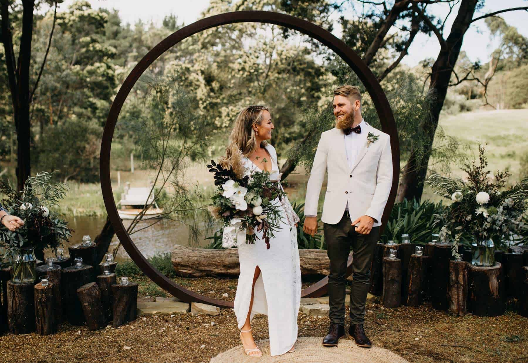 boho wedding with circle arbour