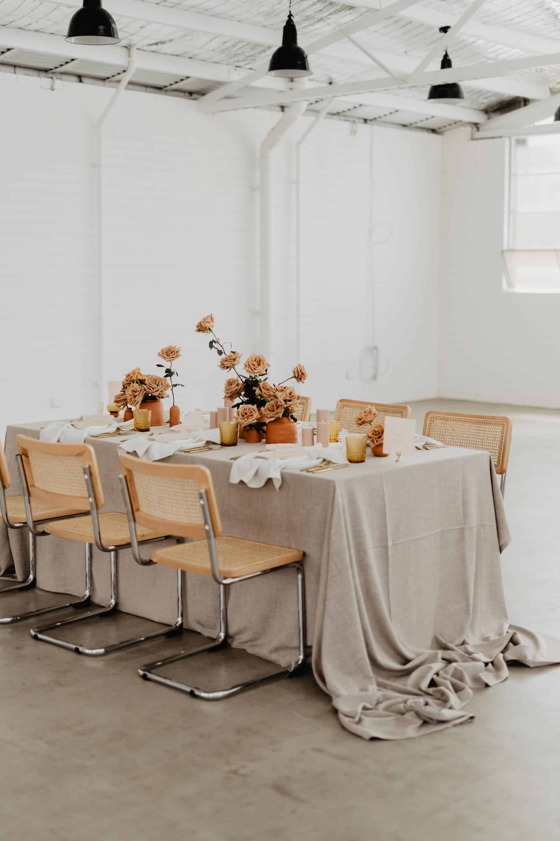 autumn wedding inspiration in a light-filled warehouse