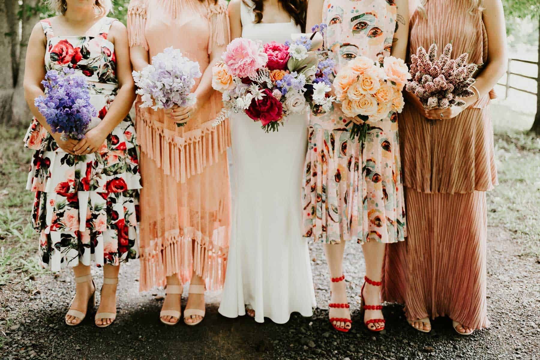 colourful mismatched bridesmaid dresses