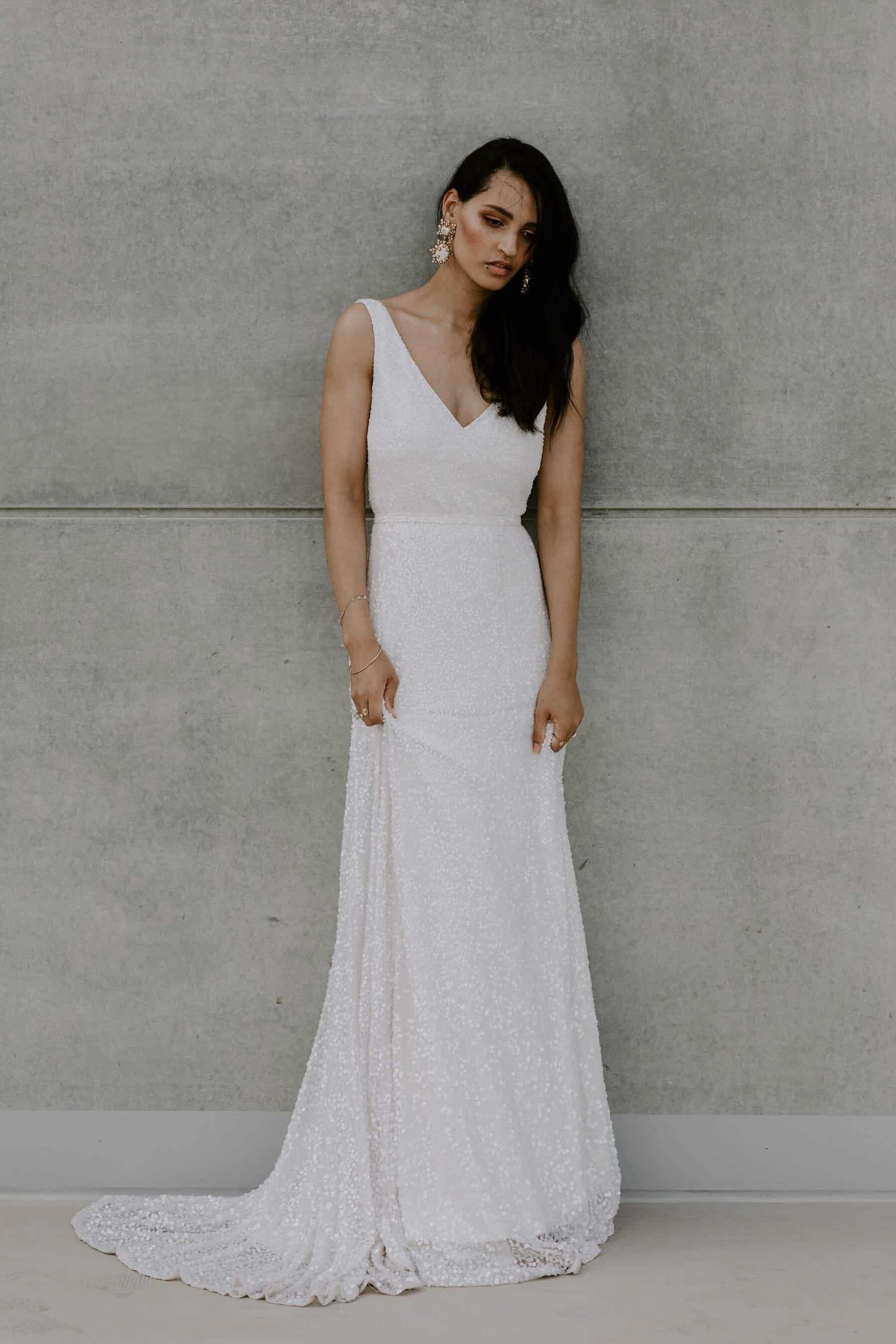 modern v-neck sequin wedding dress