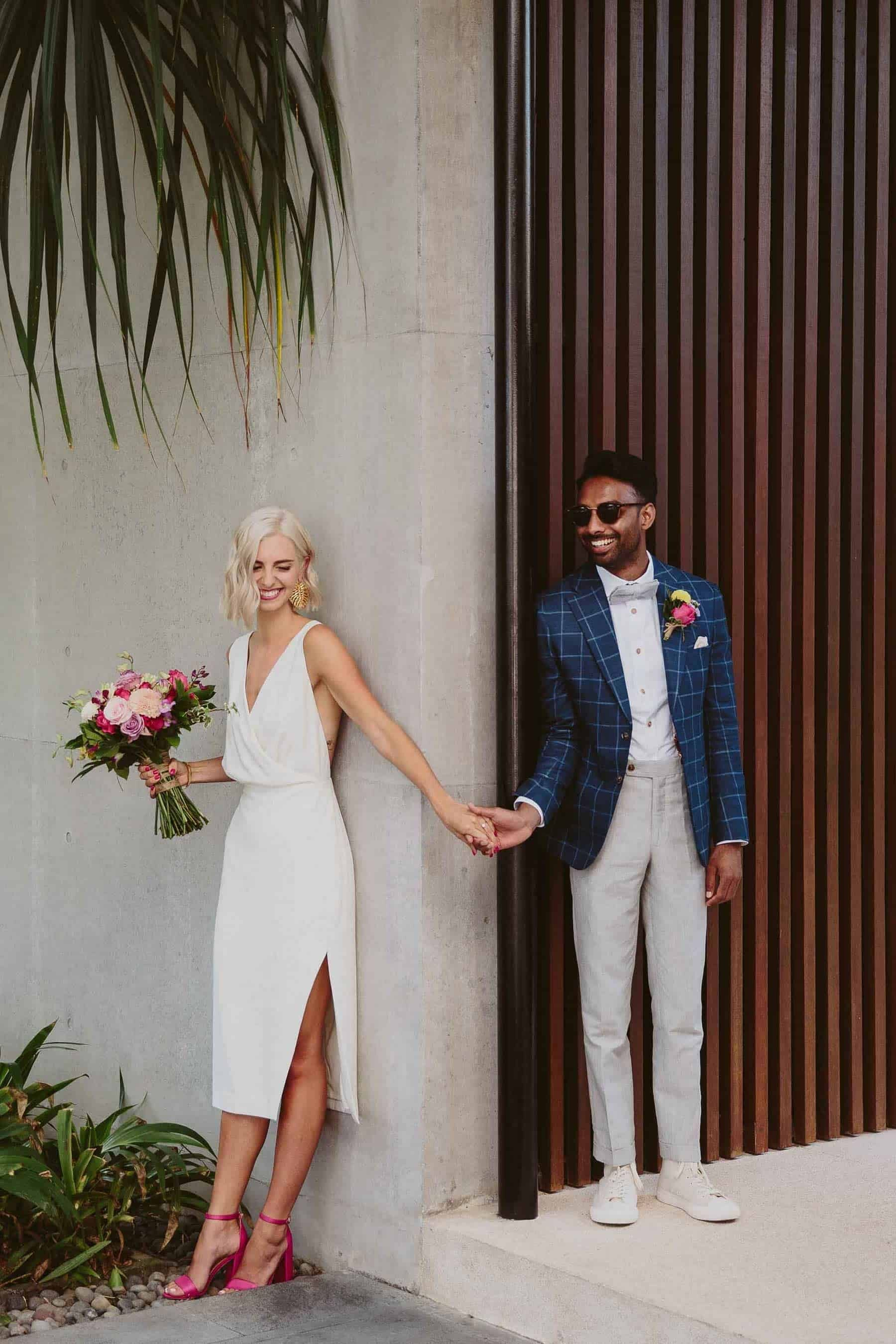 stylish, modern and minimal bride and groom