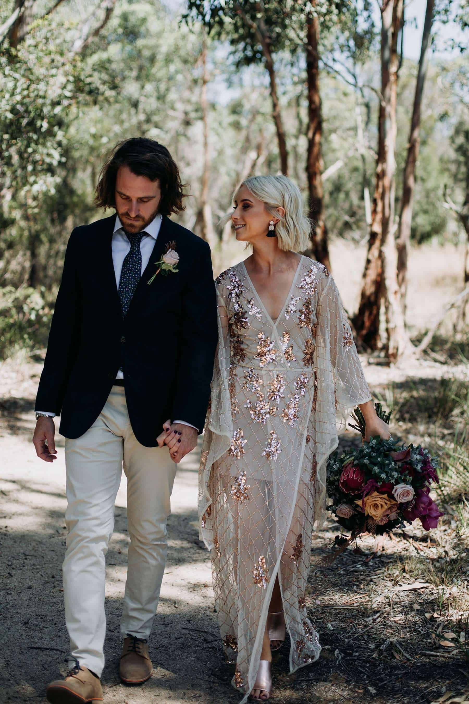 boho rose gold wedding dress with flared long sleeves