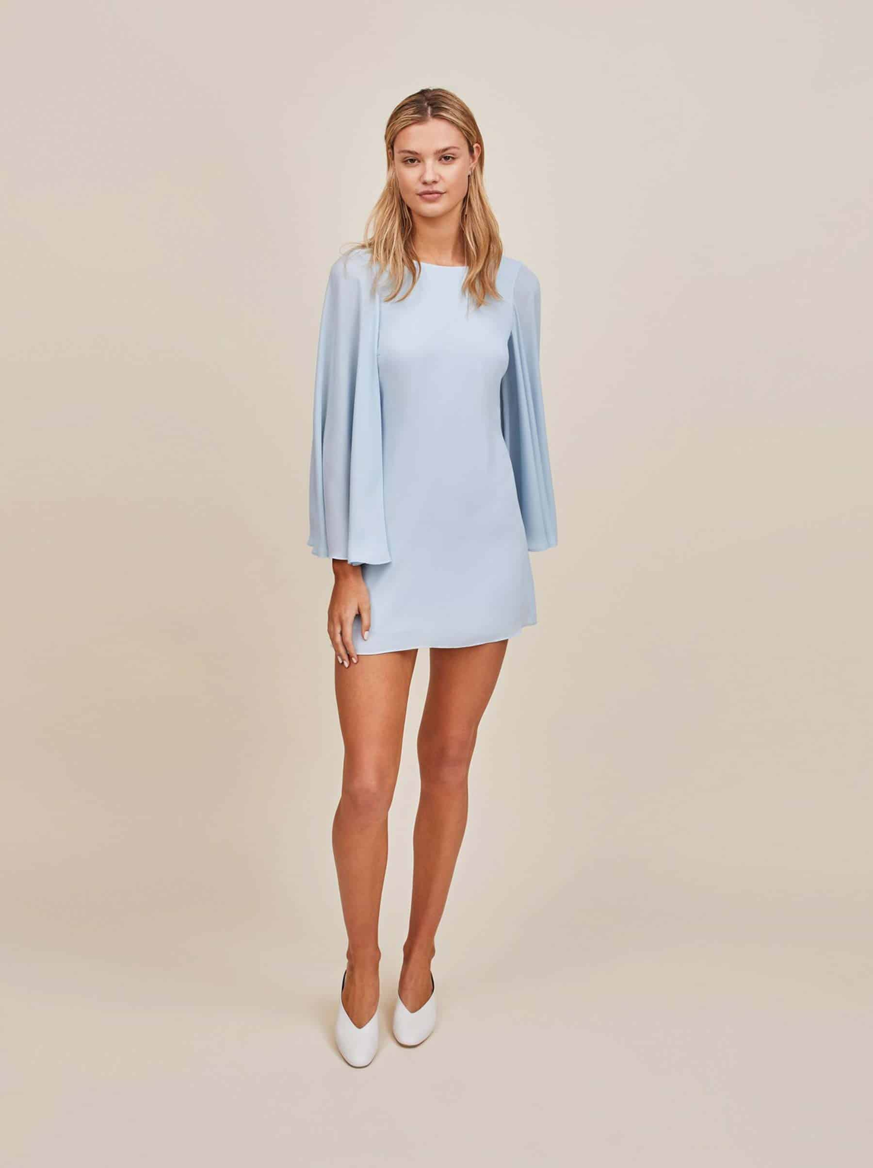 pastel blue slip dress flared sleeves