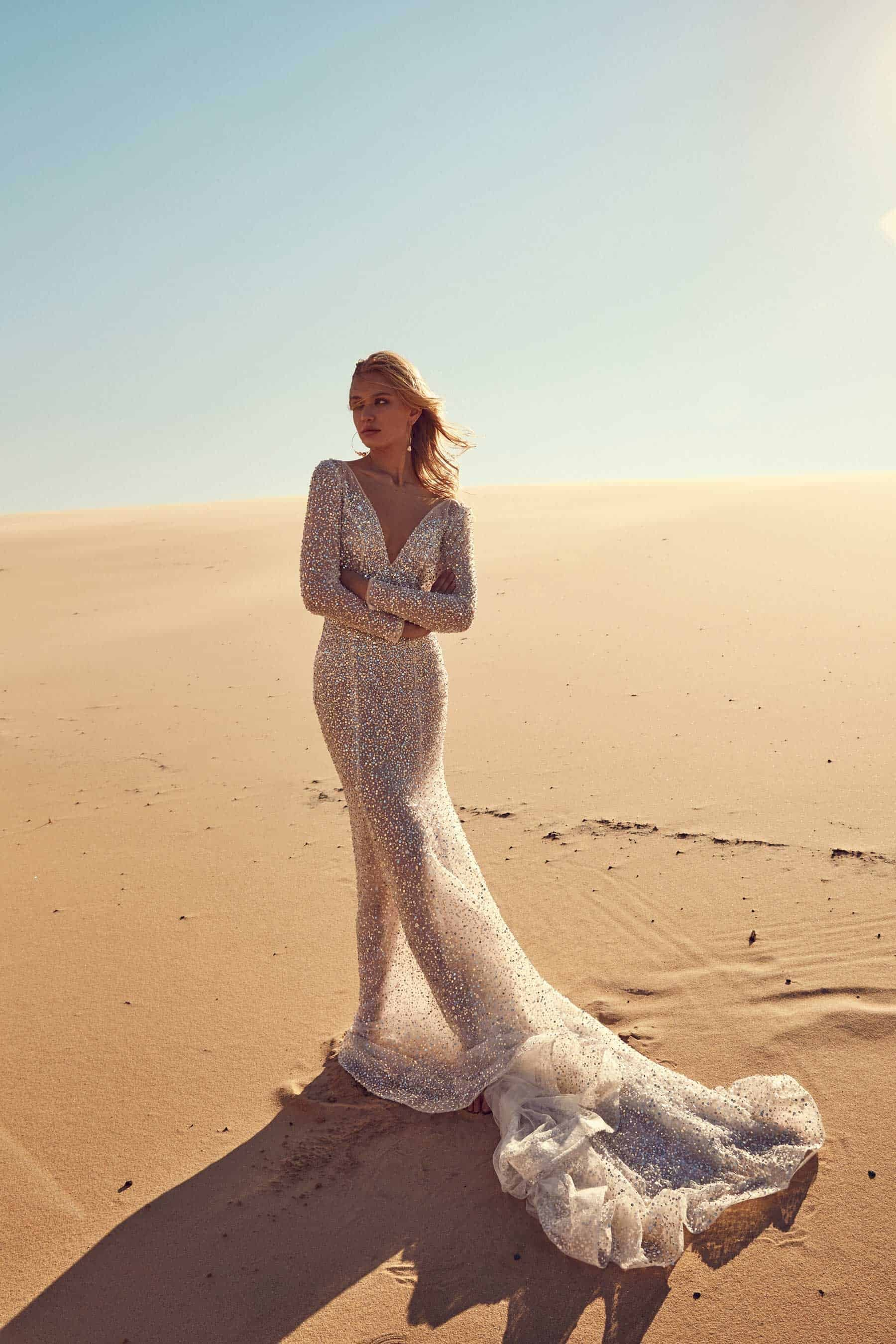 long sleeve sequin wedding dress by Chosen by One Day
