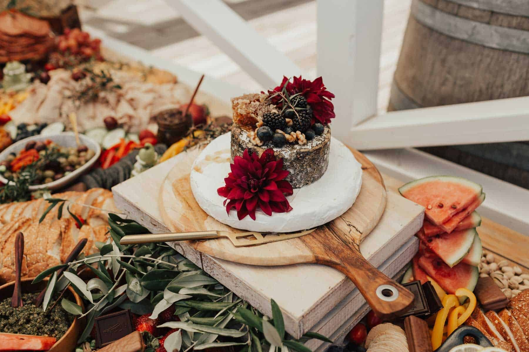 rustic grazing table for an outdoor wedding