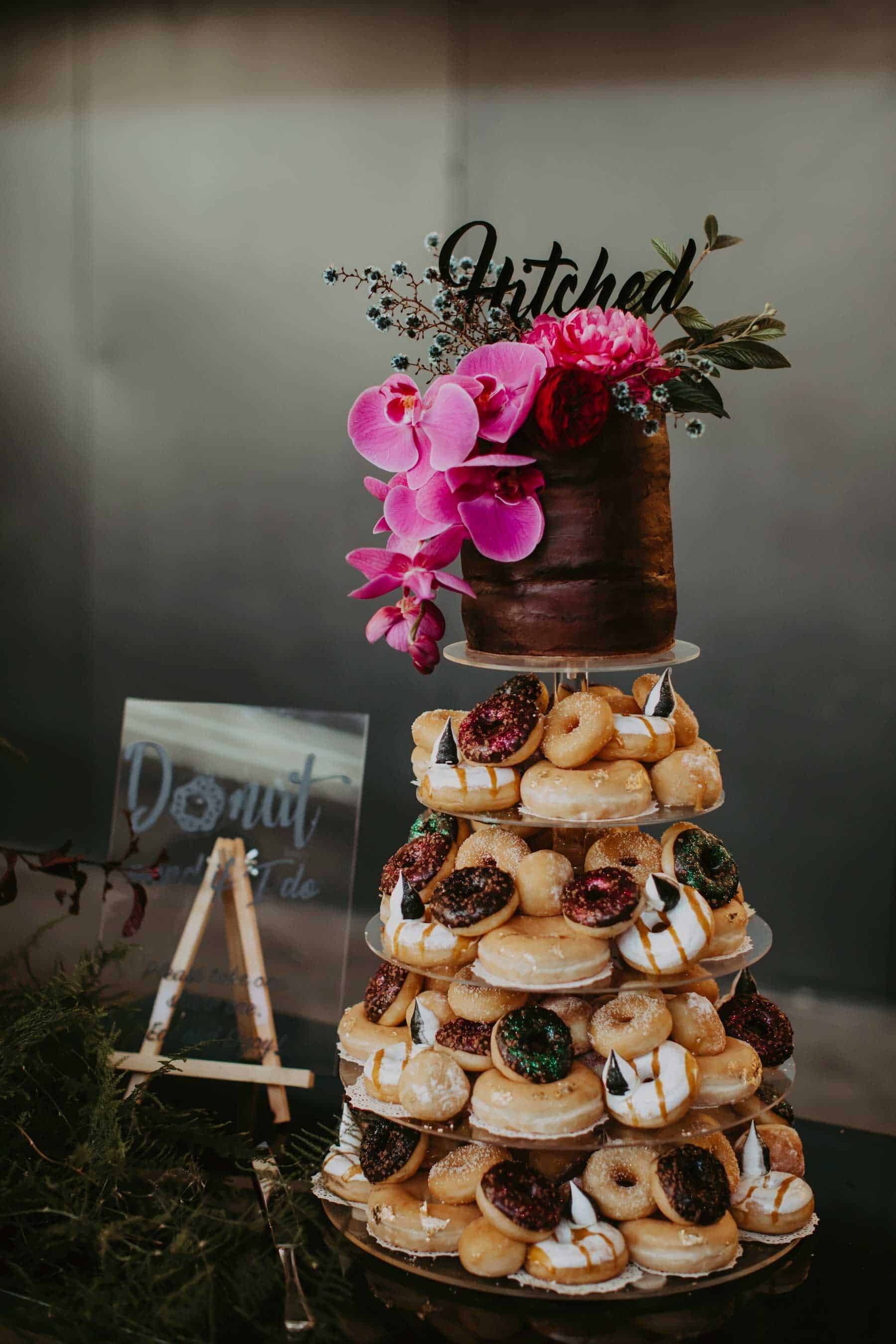 donut wedding cake with top tier cake