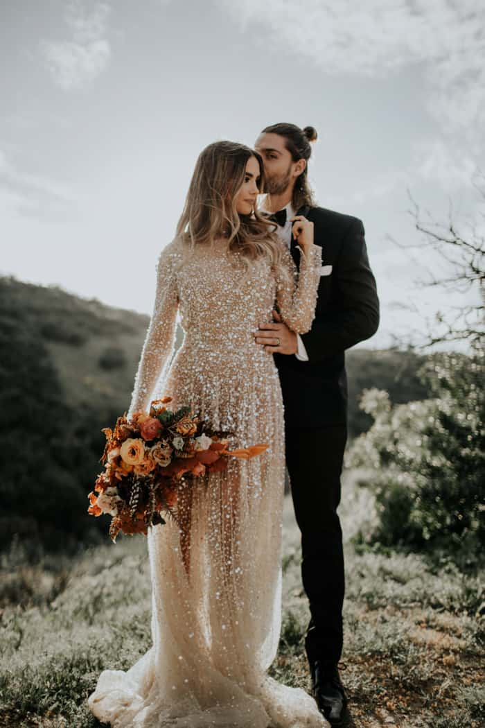 gold sequin long sleeve wedding dress